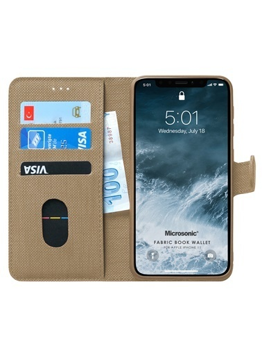 Microsonic iPhone 11 (6.1'') Kılıf Fabric Book Wallet Gold Altın